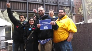 Members of Fight Back Pittsburgh visited with UPMC workers on Tuesday.
