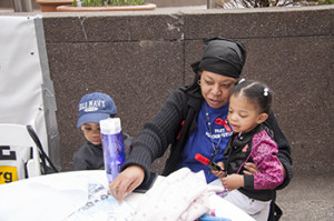 UPMC Worker Leslie Poston visits with her grandchildren during the Fast for Our Future.