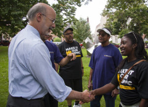 UPMC Worker Latahsa Tabb meets with gubernatorial candidate Tom Wolf.