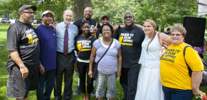 Gubernatorial candidate Tom Wolf met with workers who are fighting to rebuild the middle class.